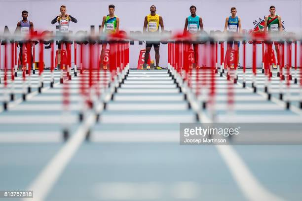Athletes prepare in the boys 110m hurdles qualification during day 2 of the IAAF U18 World Championships at Moi International Sports Centre Kasarani...