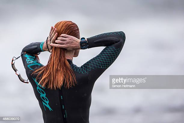 Athletes prepare prior to the Ironman 703 Ruegen at Reugen Island on September 13 2015 in Stralsund Germany