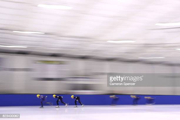 Athletes race during the Australian World Cup Short Track Trials on July 27 2017 at Canterbury Olympic Ice Rink in Sydney Australia