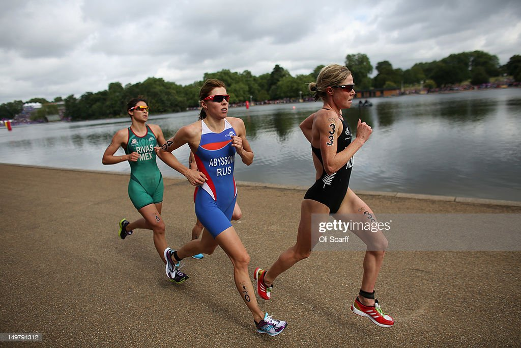 Athletes race in the running stage of the Women's Triathlon event at the London 2012 Olympic Games in Hyde Park which was won by Nicola Spirig of Switzerland on August 4, 2012 in London, England.