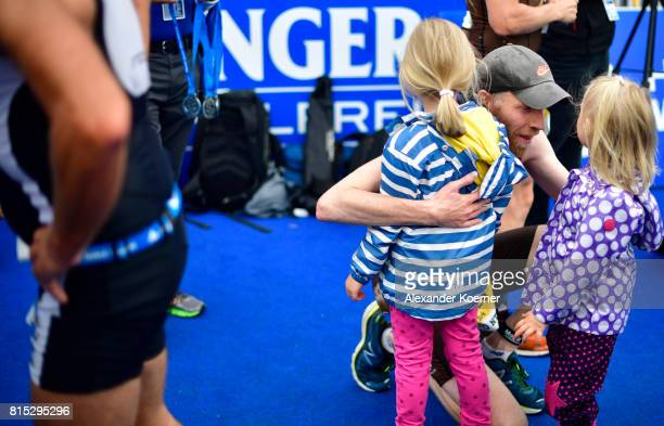 Athletes react after finishing in the Olympic distance at Hamburg Wasser ITU World Triathlon Championships 2017 on July 16 2017 in Hamburg Germany