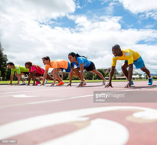 Athletes ready for running