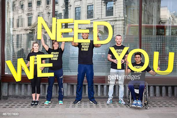 Athletes Rebecca Tunney Kate RichardsonWalsh Joe Joyce Richard Kilty and Mandip Sehmi take part in the launch of UK Sport's #EveryRoadtoRio campaign...