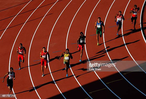 Athletes run in heat 1 of the men's 200 meter semifinal during Day 13 of the Toronto 2015 Pan Am Games on July 23 2015 in Toronto Canada