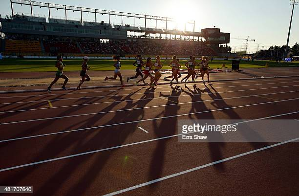 Athletes run in the women's 10000 meter final during Day 13 of the Toronto 2015 Pan Am Games on July 23 2015 in Toronto Canada
