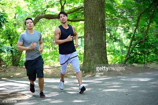 Athletes running in (Tokyo) park