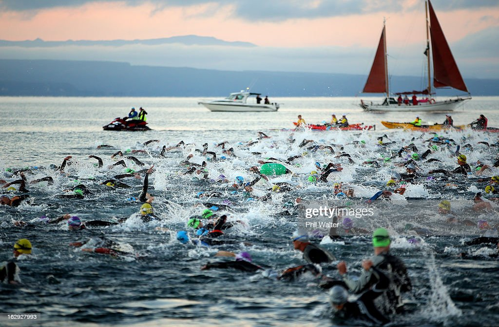 Athletes start the New Zealand Ironman on March 2, 2013 in Taupo, New Zealand.