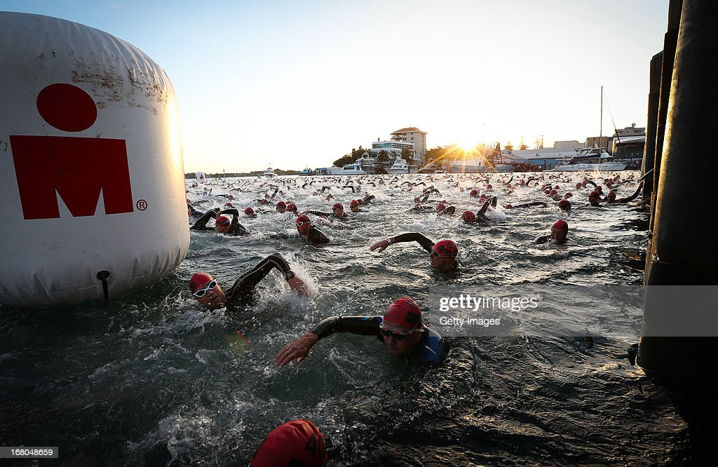 Athletes start the race in the Port Macquarie round of the 2013 Ironman Australia series on May 5, 2013 in Port Macquarie, Australia.