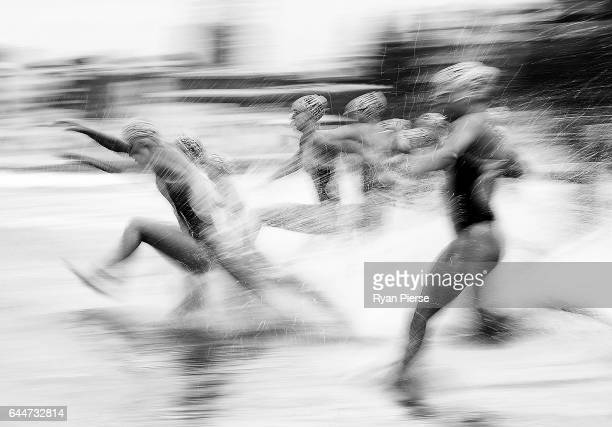 Athletes start the swim leg during the Round One Enduro during the Nutri Grain IronMan and IronWoman Finals at Cronulla Beach on February 24 2017 in...