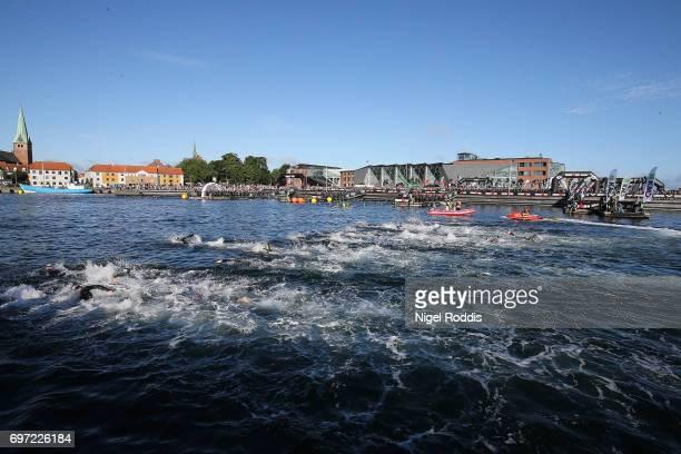 Athletes start the swim section of the KMD IRONMAN 703 European Championship Elsinore on June 18 2017 in Helsingor Denmark