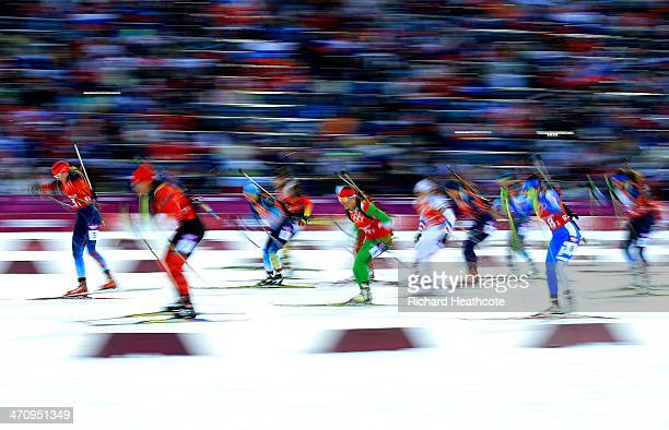Athletes start the Women's 4 x 6 km Relay during day 14 of the Sochi 2014 Winter Olympics at Laura Crosscountry Ski Biathlon Center on February 21...