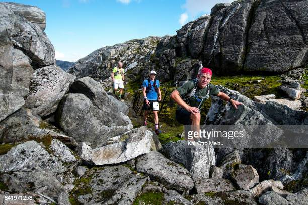 Athletes struggeling with the terrain at Hardangervidda Marathon on September 2 2017 in Eidfjord Norway Hardangervidda Marathon goes through parts of...