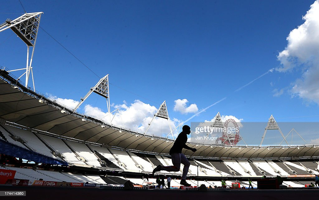 Athletes take part in training ahead of the Sainsbury's Anniversary Games - IAAF Diamond League at The Olympic Stadium on July 25, 2013 in London, England.