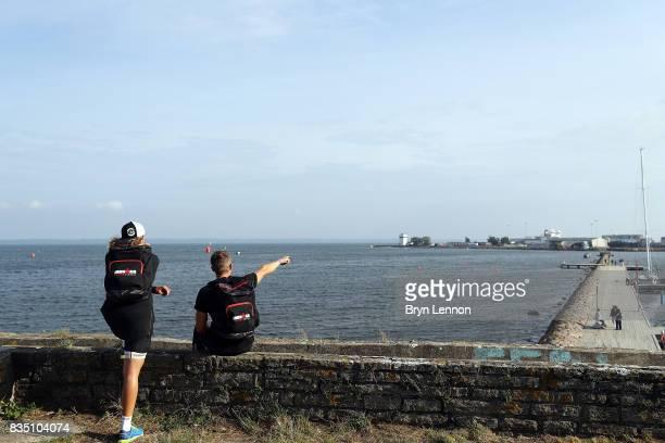 Athletes take recce the swim course ahead of IRONMAN Kalmar on August 18 2017 in Kalmar Sweden