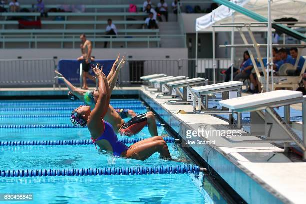 Athletes take the start during the 200 meter relay at the 2017 World Police and Fire Games Los Angeles at Expo Park Swim Stadium on August 11 2017 in...
