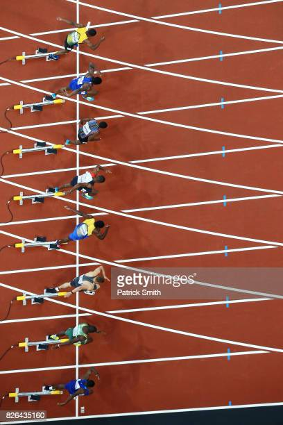 Athletes take their marks in the mens 100m heats during day one of the 16th IAAF World Athletics Championships London 2017 at The London Stadium on...