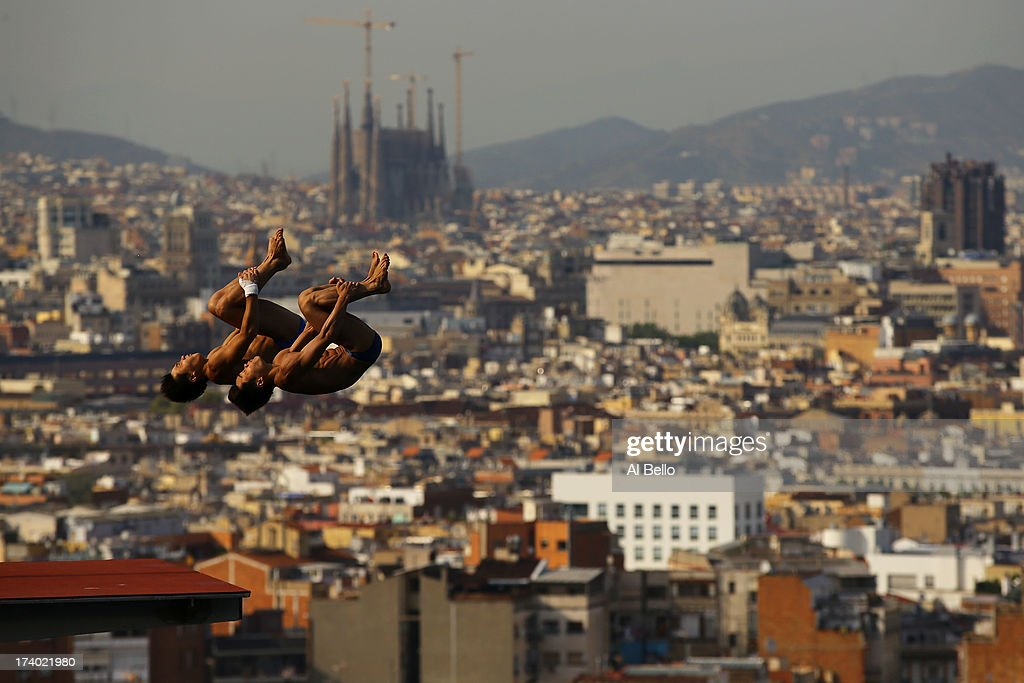 Athletes train ahead of the 15th FINA World Championships at Piscina Municipal de Montjuic on July 19, 2013 in Barcelona, Spain.