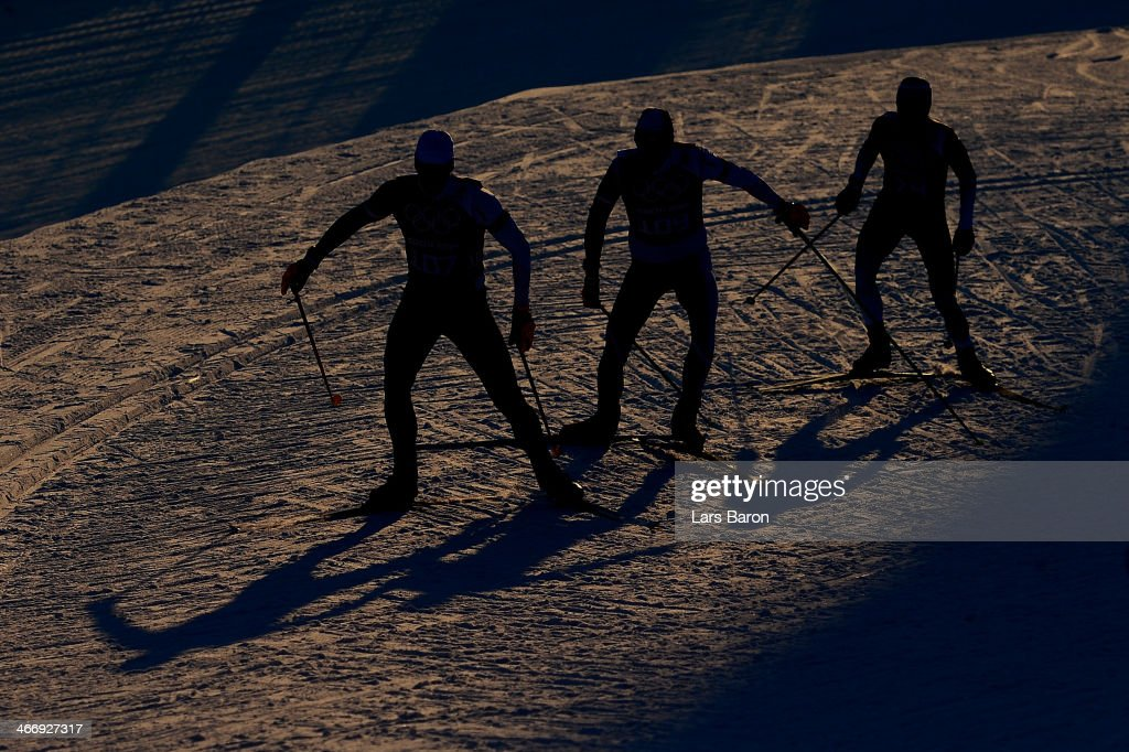 Athletes train ahead of the Sochi 2014 Winter Olympics at the Laura Cross-Country Ski and Biathlon Center on February 5, 2014 in Sochi, Russia.