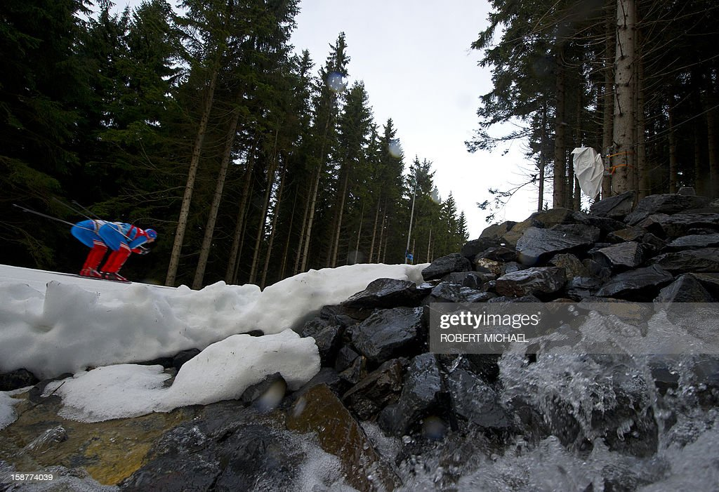 Athletes train during the official practice session of the Tour de Ski event on December 28, 2012 in Oberhof, eastern Germany. The winter sport resort in the Thuringian Forest is to host the Tour de Ski cross-country event taking place on December 29 and 30, 2012.