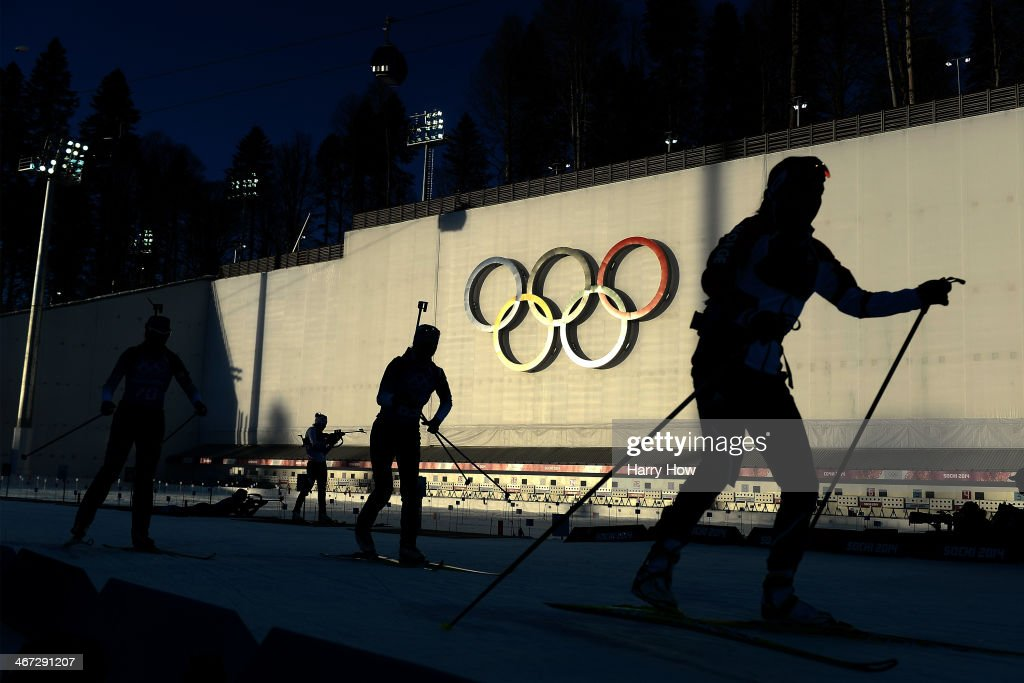 Athletes train for the Women's Biathlon ahead of the Sochi 2014 Winter Olympics at the Laura Cross-Country Ski and Biathlon Center on February 6, 2014 in Sochi, Russia.