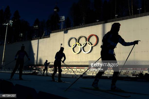 Athletes train for the Women's Biathlon ahead of the Sochi 2014 Winter Olympics at the Laura CrossCountry Ski and Biathlon Center on February 6 2014...