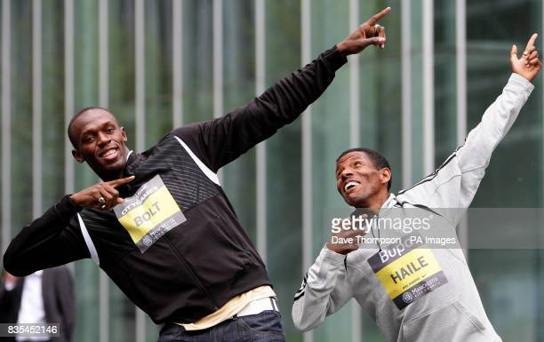 Athlete's Usain Bolt and Haile Gebrselassie during a photocall to promote the BUPA Great Manchester CityGames at Number 1 the Avenue Manchester