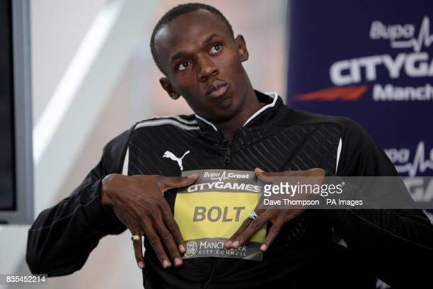 Athlete's Usain Bolt during a photocall to promote the BUPA Great Manchester CityGames at Number 1 the Avenue Manchester