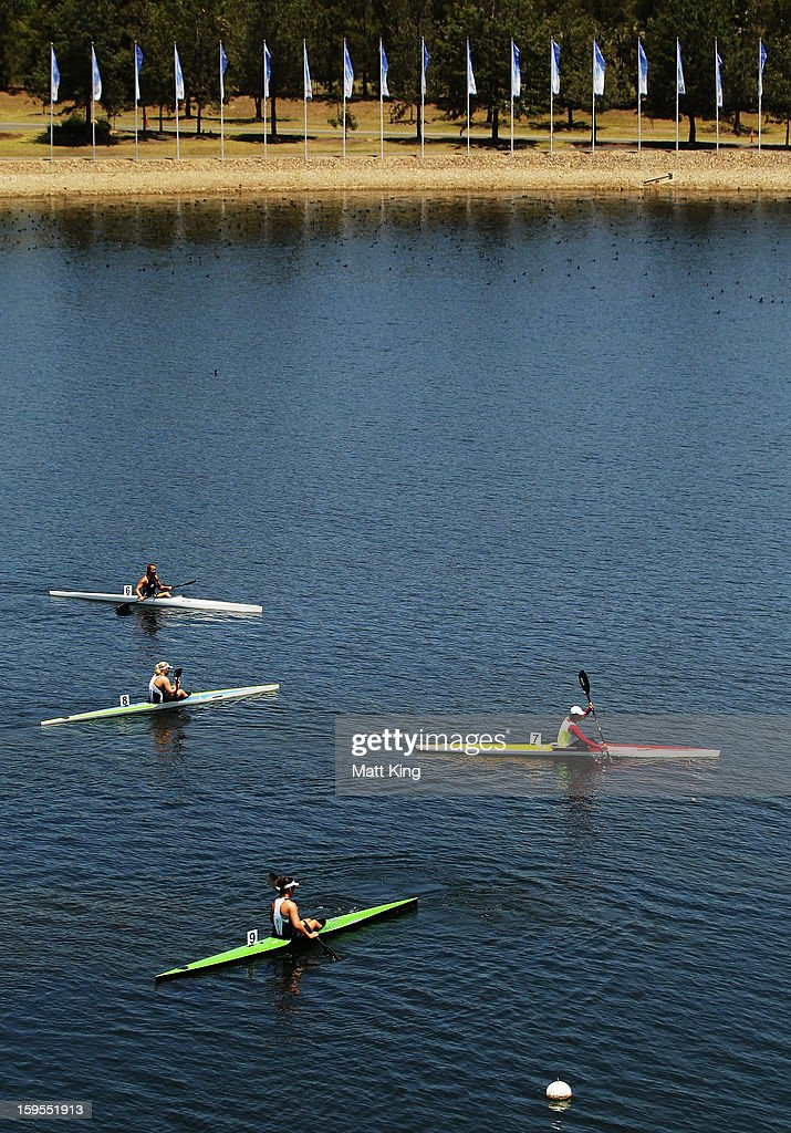 Athletes warm down after the Women's K1 500 Final during day one of the 2013 Australian Youth Olympic Festival at the Sydney International Regatta Centre on January 16, 2013 in Sydney, Australia.