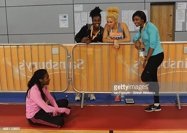 Athletes warm up and prepare for events at the Sainsbury's British Athletics Indoor Championships on February 9 2014 in Sheffield England