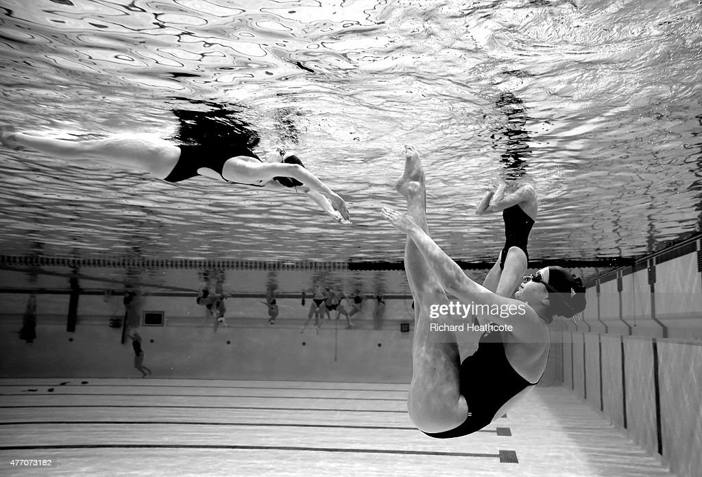 Athletes warm up before the Figures Synchronised Swimming during day two of the Baku 2015 European Games at Baku Aquatics Centre on June 14, 2015 in Baku, Azerbaijan.