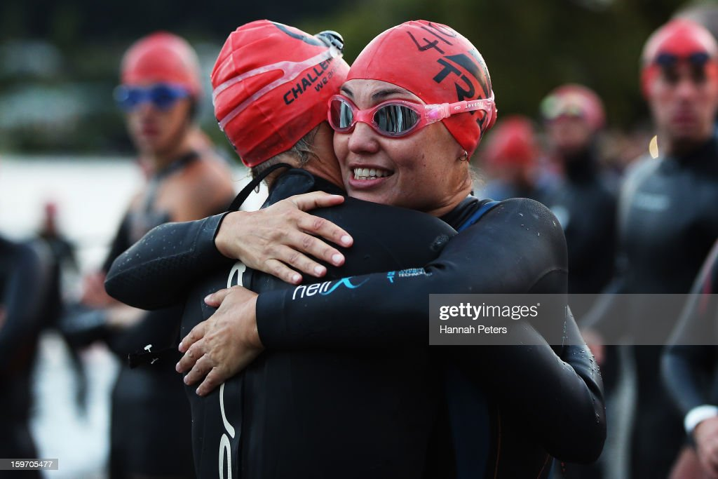 Athletes wish eachother luck before taking part in the Challenge Wanaka on January 19, 2013 in Wanaka, New Zealand.
