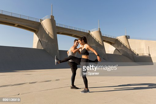 'Athletes working out, Van Nuys, California, USA'