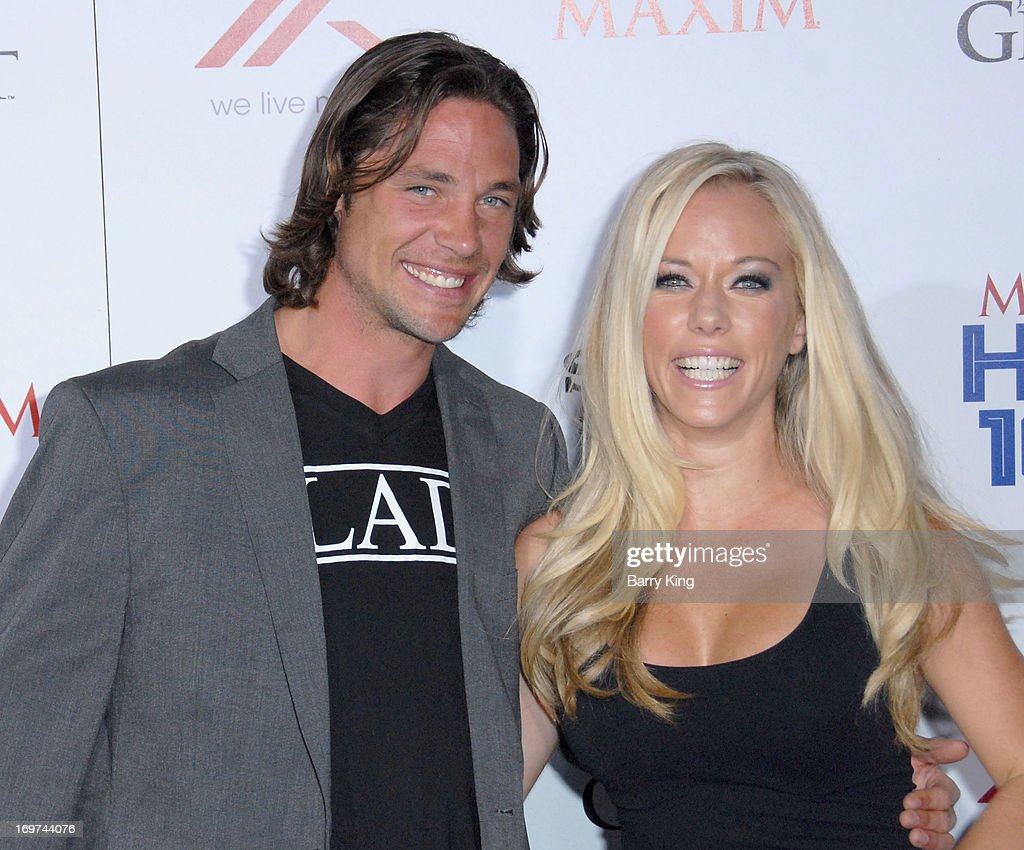 Athlete/tv personality Rory Bushfield (L) and tv personality <a gi-track='captionPersonalityLinkClicked' href=/galleries/search?phrase=Kendra+Wilkinson&family=editorial&specificpeople=539064 ng-click='$event.stopPropagation()'>Kendra Wilkinson</a> arrive at the Maxim 2013 Hot 100 Party held at Create on May 15, 2013 in Hollywood, California.