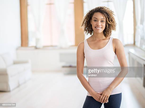 Athletic African American woman at home