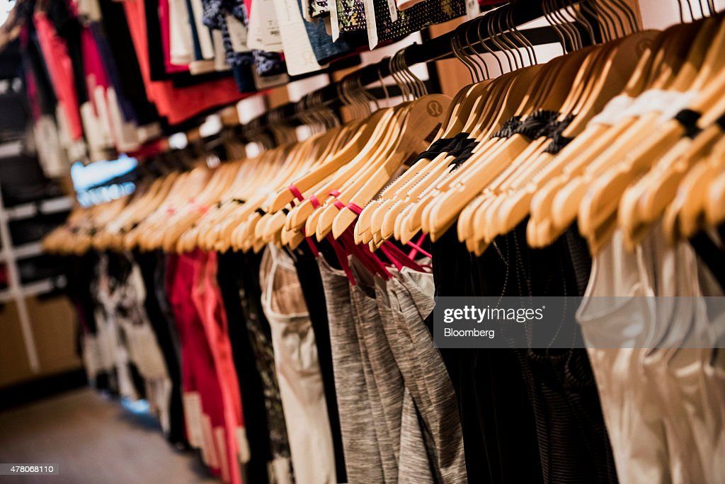 Athletic apparel sits on display inside a Lululemon Athletica Inc store at the International Finance Centre mall in Hong Kong China on Monday June 22...