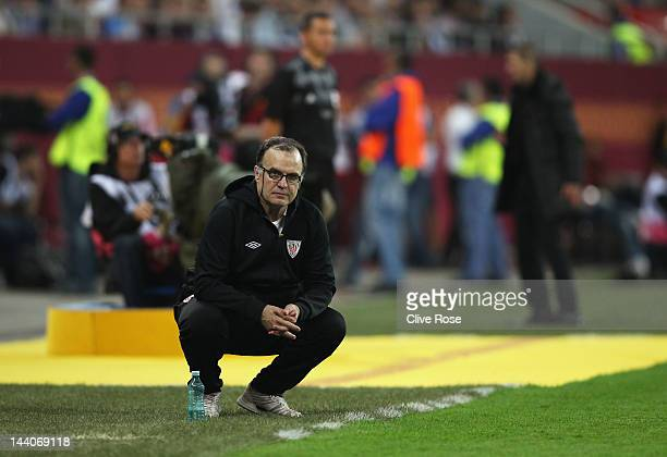 Athletic Bilbao Coach Marcelo Bielsa looks on during the UEFA Europa League Final between Atletico Madrid and Athletic Bilbao at the National Arena...