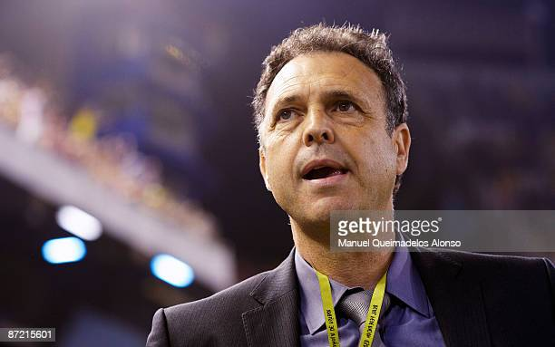 Athletic Bilbao manager Joaquin Caparros looks on before the start of the Copa del Rey final match between Barcelona and Athletic Bilbao at the...