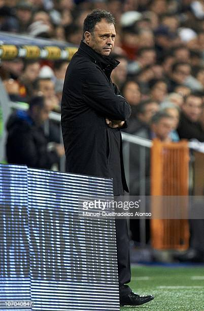 Athletic Bilbao manager Joaquin Caparros looks on during the La Liga match between Real Madrid and Athletic Bilbao at Estadio Santiago Bernabeu on...
