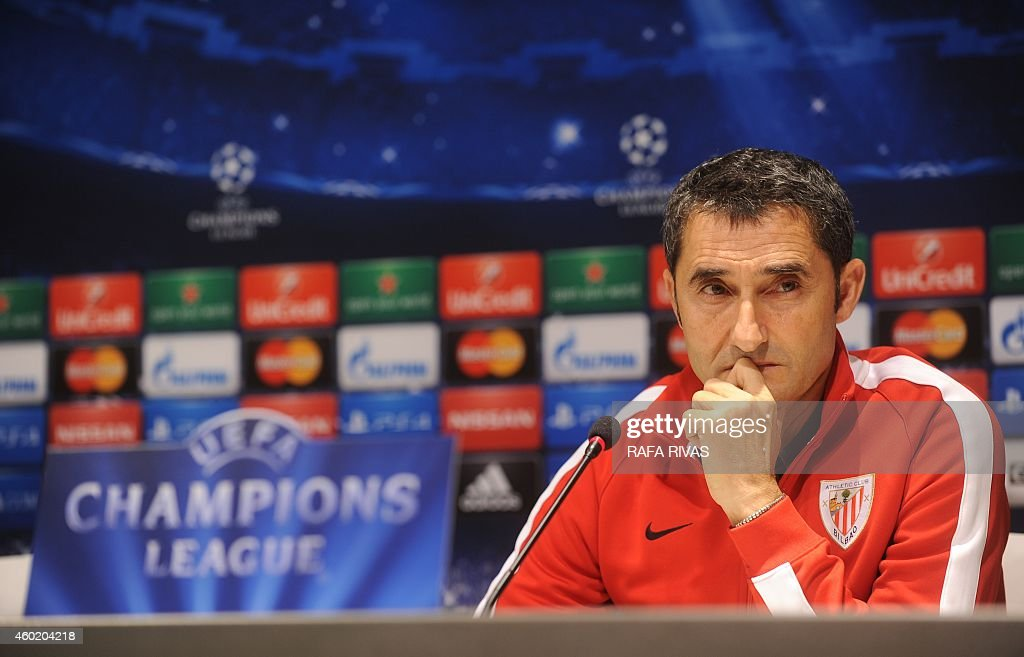 Athletic Bilbao's coach <a gi-track='captionPersonalityLinkClicked' href=/galleries/search?phrase=Ernesto+Valverde&family=editorial&specificpeople=2498803 ng-click='$event.stopPropagation()'>Ernesto Valverde</a> gives a press conference at the San Mames in Bilbao, on December 9, 2014, on the eve of the UEFA Champions League football match Athletic Club Bilbao vs FC BATE Borisov.