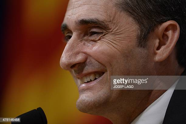 Athletic Bilbao's coach Ernesto Valverde gives a press conference on May 29 2015 on the eve of the Spanish King's Cup final football match FC...