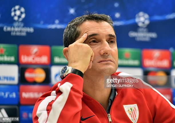 Athletic Bilbao's coach Ernesto Valverde is pictured during the pressconference in Lviv on November 24 2014 on the eve of their UEFA Champions League...