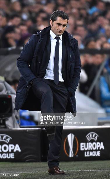 Athletic Bilbao's coach Ernesto Valverde reacts during the UEFA Europa League football match between Marseille and Athletic Bilbao at Velodrome...