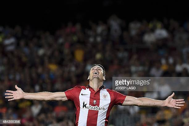 Athletic Bilbao's forward Aritz Aduriz celebrates his goal during the Spanish Supercup secondleg football match FC Barcelona vs Athletic club Bilbao...