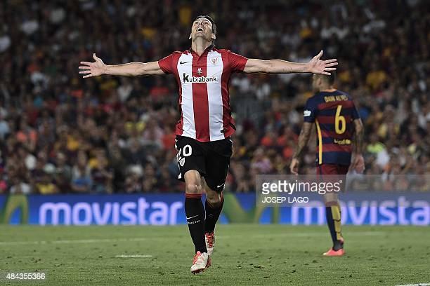 Athletic Bilbao's forward Aritz Aduriz celebrates his goal during the Spanish Supercup secondleg football match FC Barcelona vs Athletic club Bilbao...