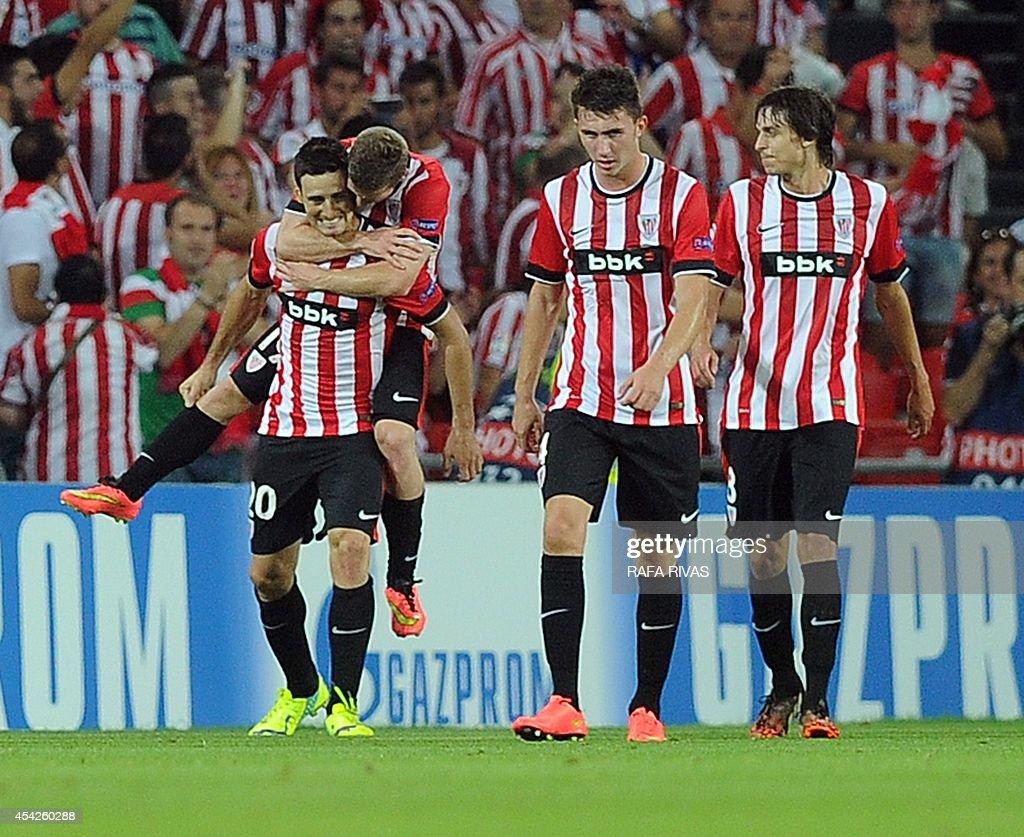 Athletic Bilbao s forward Aritz Aduriz L celebrates with his