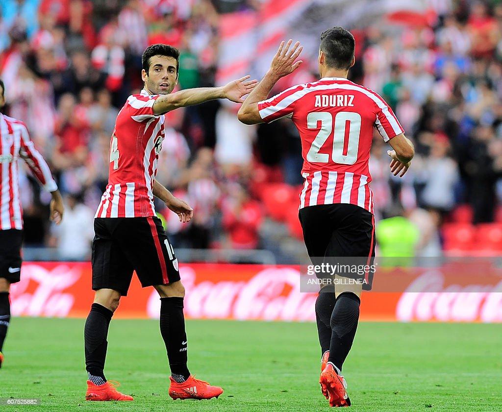 Athletic Bilbao s forward Aritz Aduriz R celebrates with