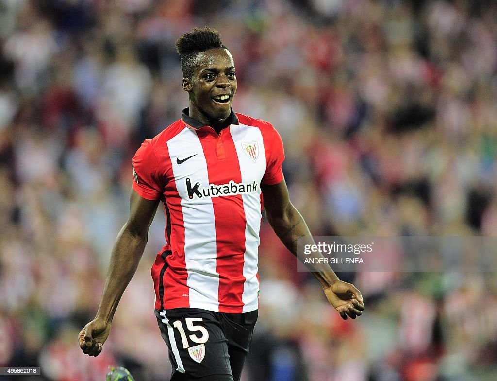 Athletic Bilbao's forward Inaki Williams Arthuer celebrates after scoring during the UEFA Europa League group L football match Athletic Club Bilbao...