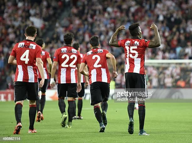 Athletic Bilbao's forward Inaki Williams Arthuer celebrates after scoring during the UEFA Europa League group L football match Athletic Club Bilbao...