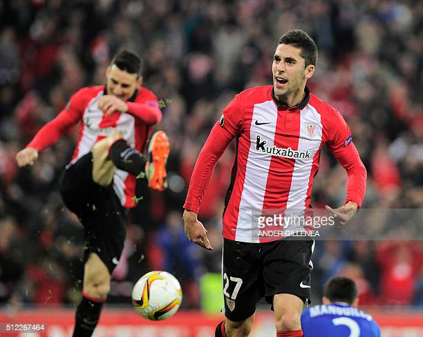 Athletic Bilbao's Sabin Merino celebrates after scoring during the UEFA Europa League Round of 32 second leg football match Athletic Club Bilbao vs...