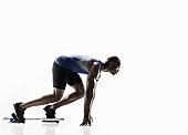 Athletic Black Male In Starting Blocks